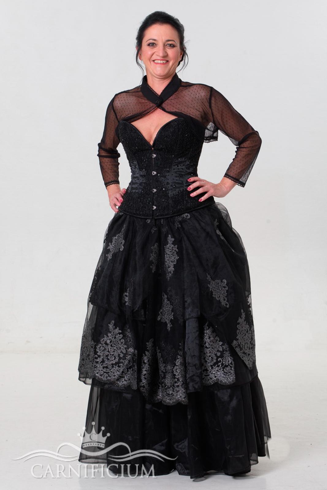 Hochzeitskleid in schwarz mit schwarzem Perlenkorsett und silbergrau schwarzem Korsett-carnificium